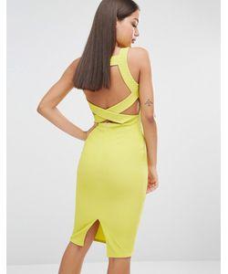 MISSGUIDED | Облегающее Платье Миди С Отделкой Сзади Лайм
