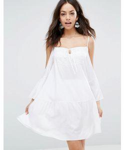 Max C London | Пляжное Платье Мини С Открытыми Плечами Белый