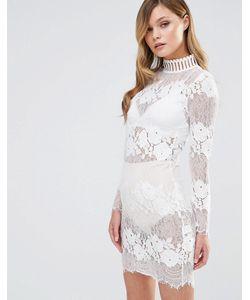 Dark Pink | Кружевное Платье С Высокой Горловиной Белый