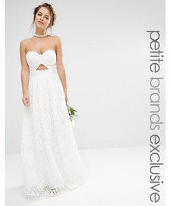 Jarlo Petite | Платье Макси Бандо Из Кружева Белый