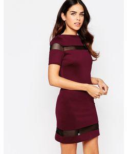Amy Childs | Цельнокройное Платье С Сетчатыми Вставками Suki Фиолетовый
