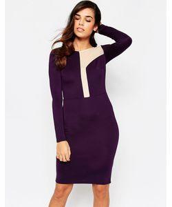 Amy Childs | Платье Миди С Ассиметричной Сетчатой Вставкой Camilla Фиолетовый
