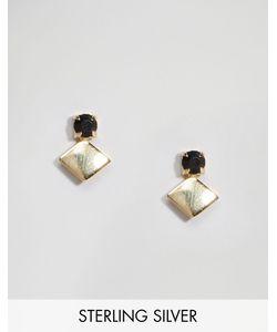 Asos | Серьги Из Позолоченного Серебра С Камнем Золотой