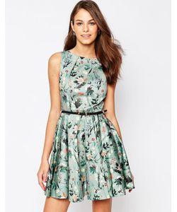 Closet | Короткое Приталенное Платье С Принтом Пейсли И Поясом