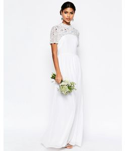 Asos | Платье Макси С Высоким Воротом И Декоративной Отделкой Bridal
