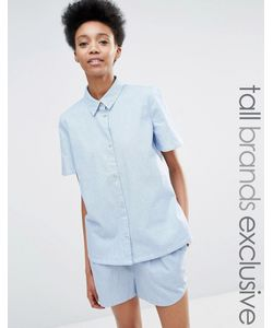 ADPT Tall | Рубашка Из Шамбре С Короткими Рукавами Синий