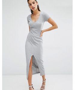 Parallel Lines | Платье-Футболка Макси В Рубчик С V-Образным Вырезом Серый
