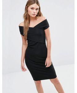 Fashion Union | Облегающее Платье С Запахом Спереди Черный