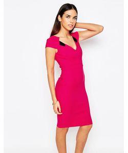 Vesper | Платье-Футляр С Vобразным Вырезом Mabel Розовый