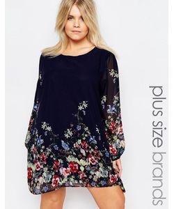 Yumi Plus | Цельнокройное Платье Размера Плюс С Цветочным Принтом Темно-Синий