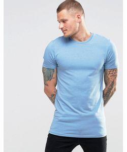 Asos | Синяя Меланжевая Футболка Облегающего Кроя Небесно-Синий Меланж
