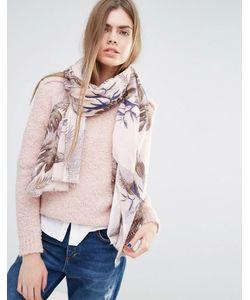 BECKSONDERGAARD | Пастельно-Розовый Шарф С Лиственным Принтом Pink Multi
