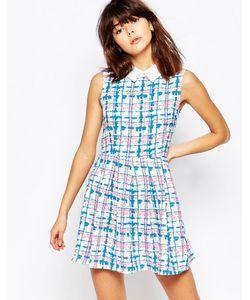 Mela Loves London | Платье С Воротником В Клетку Белый