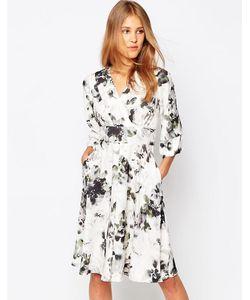 Closet   Платье С Рукавами-Кимоно И Цветочным Принтом
