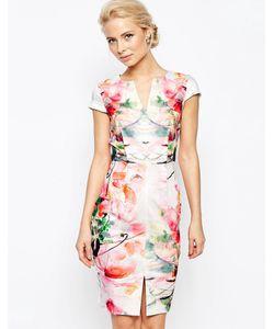 Closet | Платье-Футляр С Зеркальным Принтом И Разрезом Спереди