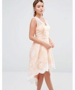 Chi Chi London | Платье Для Выпускного С Асимметричным Подолом И Кружевом