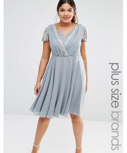 Lovedrobe Luxe | Платье Миди С Запахом И Короткими Рукавами Серый