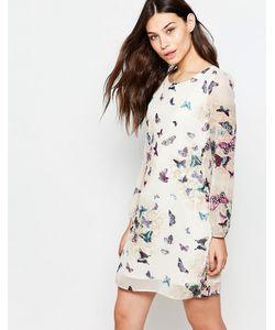 Yumi | Цельнокройное Платье С Длинными Рукавами И Принтом Бабочек Кремовый