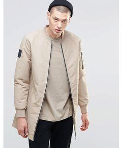 N1SQ   Удлиненная Спортивная Куртка Бежевый