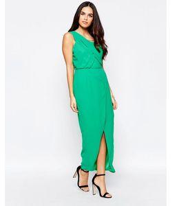 VLabel London | Платье На Одно Плечо С Разрезом Vlabel Herne Зеленый