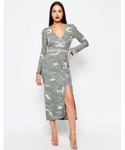 Virgos Lounge | Платье Миди С Разрезом Keely Серый