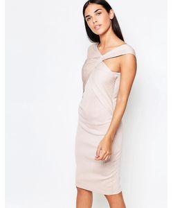 Honor Gold | Платье Миди С Перекрестной Отделкой Спереди Blush