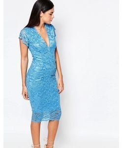 Honor Gold | Кружевное Платье Миди Синий