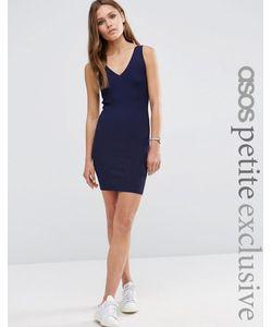 ASOS PETITE | Платье В Рубчик С Vобразным Вырезом Темно-Синий