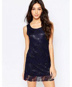 Mela Loves London | Цельнокройное Платье С Кружевной Накладкой Темно-Синий