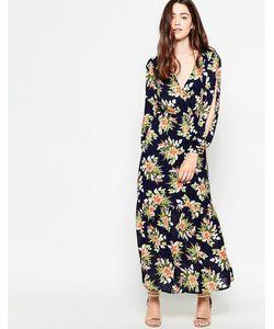 Mela Loves London | Платье Макси С Длинными Рукавами И Тропическим Принтом