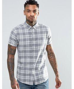Asos | Клетчатая Рубашка Из Смешанного Льна С Короткими Рукавами Серый