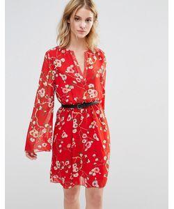 Style London | Короткое Приталенное Платье С Расклешенными Рукавами Красный