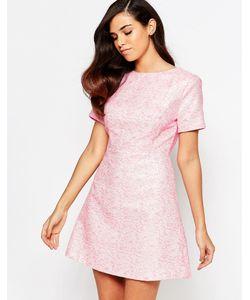 Lashes of London | Жаккардовое Цельнокройное Платье Lolly Розовый