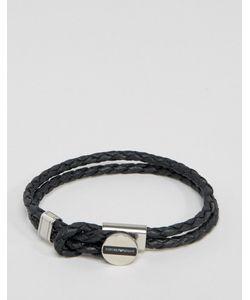 Emporio Armani | Черный Кожаный Браслет С Логотипом Черный