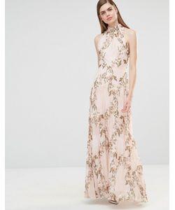 True Violet | Плиссированное Платье Макси С Принтом Роз И Высокой Горловиной