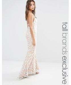 Jarlo Tall | Кружевное Платье Макси Телесный