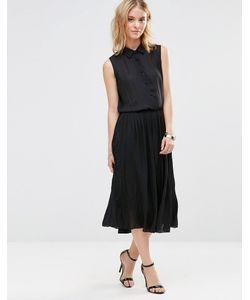 Style London | Платье-Рубашка Миди С Плиссированной Юбкой Черный
