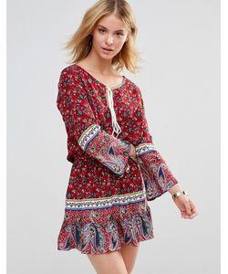 Style London | Платье С Ярусной Кромкой Красный