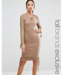 True Decadence Tall | Облегающее Платье-Футляр С Глубоким Декольте Серо-Коричневый
