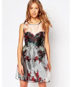 Iska | Платье Из Органзы С Вырезом Сердечком Winter Forest Серебряный