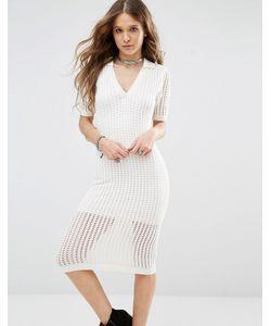 Honey Punch | Сетчатое Облегающее Платье Миди Кремовый