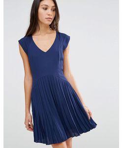 Traffic People   Платье С Плиссированной Юбкой Темно-Синий