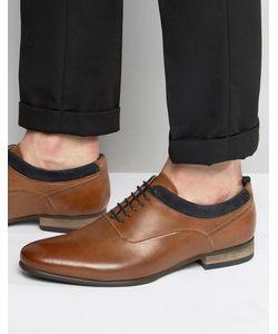 Asos | Коричневые Кожаные Оксфордские Туфли С Темно-Синей Замшевой Отделкой