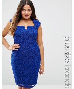 Goddiva plus | Кружевное Платье-Футляр Королевский Синий