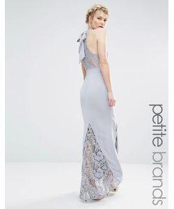 Jarlo Petite | Платье-Халтер Макси С Кружевным Верхом Серый