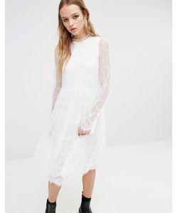 Navy | Платье Миди С Кружевными Рукавами London Белый