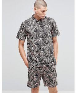 Huf | Рубашка С Короткими Рукавами И Тропическим Принтом Серо-Розовый