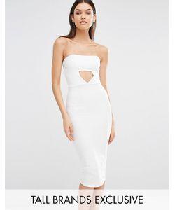 Missguided Tall | Эксклюзивное Платье-Бандо Миди С Вырезами Белый