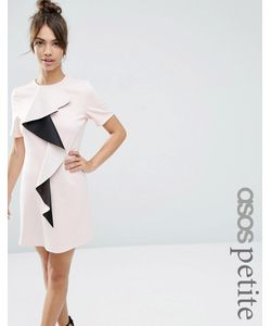 ASOS PETITE | Цельнокройное Платье С Оборкой Телесный С Черным