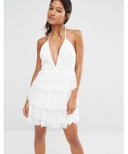 boohoo | Приталенное Кружевное Платье С Глубоким Вырезом Boutique Слоновая Кость